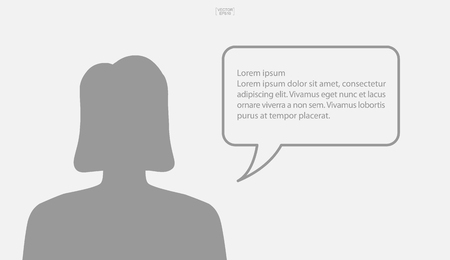 People talking with bubble sign area for copy space. Human thinking with empty chat and idea bubble. Vector illustration. 일러스트