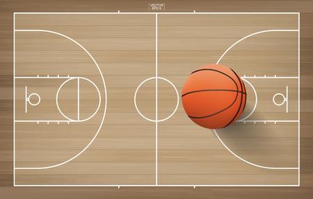 Basketball ball on basketball field background. Vector illustration.