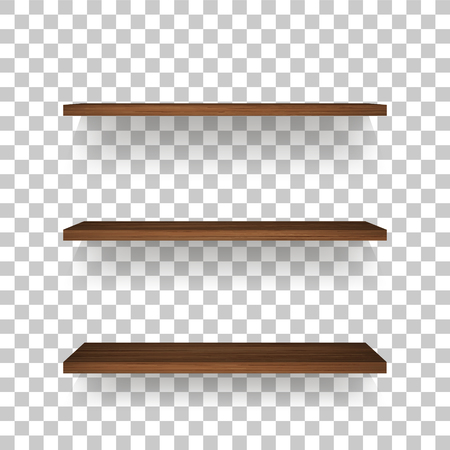 Étagère en bois sur fond transparent avec une ombre douce. Étagères en bois vides 3D. Illustration vectorielle.