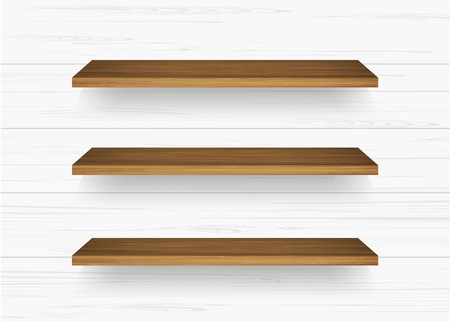 Wooden shelf on white wall background with soft shadow. Vector illustration.