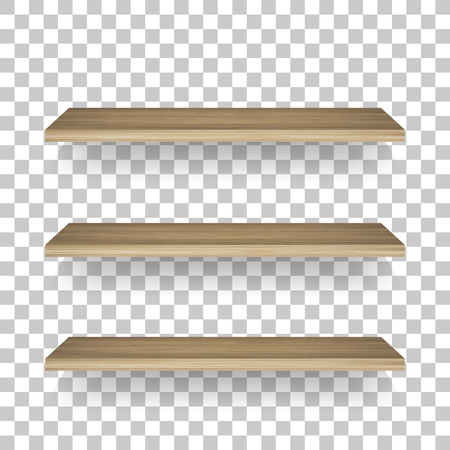Wooden shelf on transparent background with soft shadow. 3D empty wooden shelves. Vector illustration.