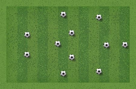 3-5-2 Soccer game tactic. Layout position for coach. Vector illustration.