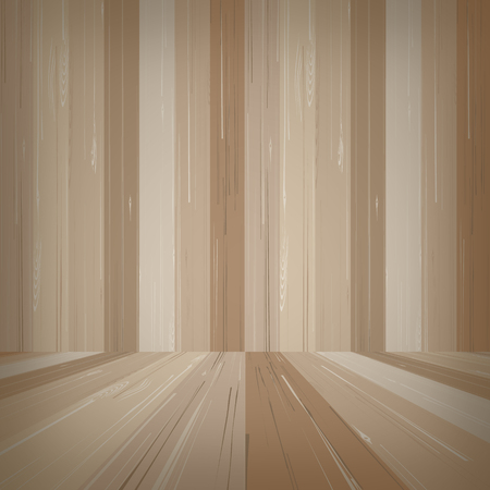 Empty wooden room space for background. Vector illustration.