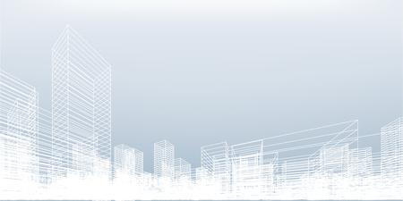 Abstrakter Drahtgitter-Stadthintergrund. Perspektivisches 3D-Rendering des Gebäudedrahtrahmens. Vektorillustration.