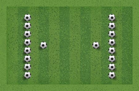Abstract soccer football ball in green grass field for background. Vector illustration.