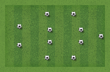 4-4-2 Soccer game tactic. Layout position for coach. Vector illustration. Vettoriali