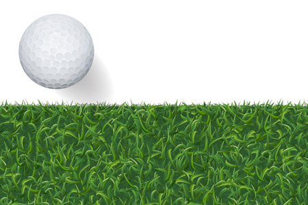 Golf ball and green grass background with area for copy space. Vector illustration.