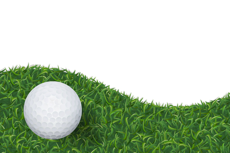 Golf ball on green grass texture background. Vector illustration.