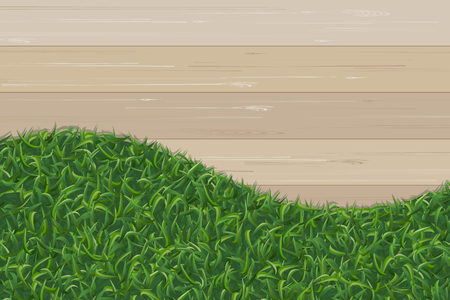 Green grass texture and wooden pattern for background. Vector illustration. 矢量图像