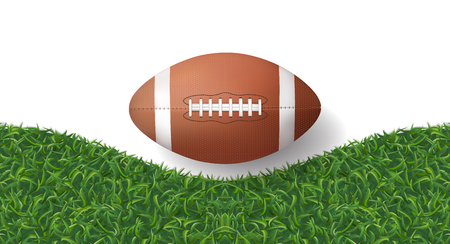 American football ball with green grass texture background. Vector illustration.