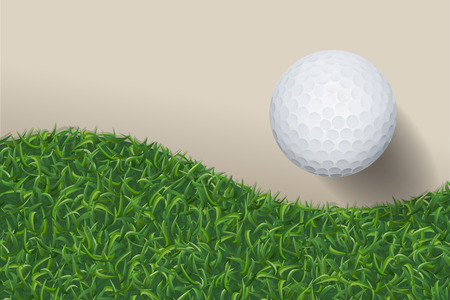 Golf ball with green grass background. Vector illustration. 矢量图像