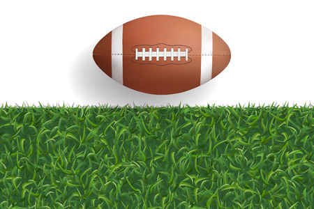 American football ball with green grass texture background. Vector illustration. Illustration