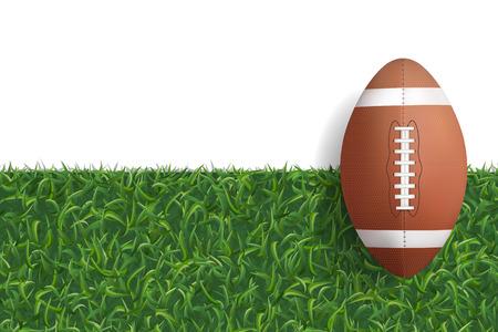 American football ball on green grass texture background. Vector illustration.