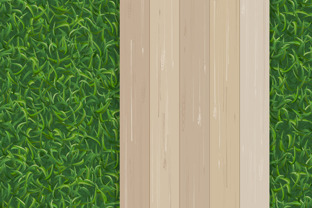 Green grass texture and wooden pattern for background. Vector illustration. Ilustração