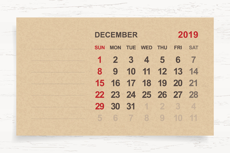 December 2019 - Monthly calendar on brown paper and wood background with area for note. Vector illustration. Vectores