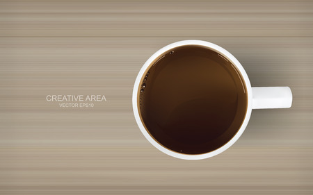 Coffee cup on wood texture background. Vector illustration.
