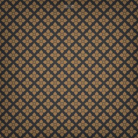 Thai pattern background of flower element. Asian traditional art design. Vector illustration. 写真素材 - 107945221
