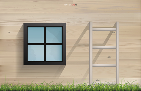 Outdoor background of window and ladder and wooden wall background. Vector illustration.