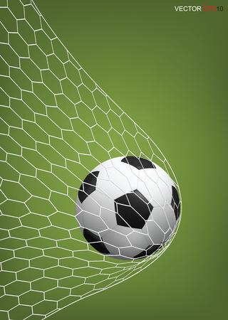 Soccer football ball in soccer goal. Vector illustration. Illustration