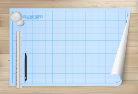 Blueprint paper background for architectural drawing with wooden background. Vector illustration. Иллюстрация
