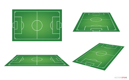Set of soccer field or football field on white background. Perspective elements. Vector illustration.