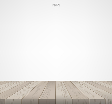 Room space with wooden floor and white wall background Vector illustration.