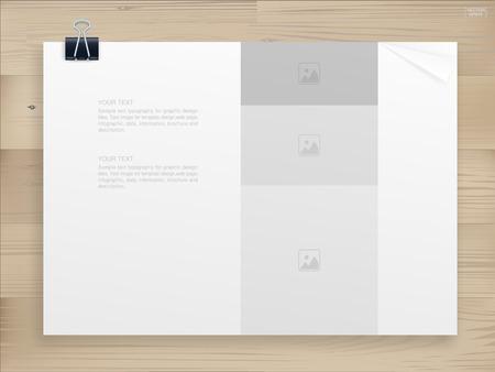 Reliure de livre avec couverture vide pour fond sur bois. Conception de modèle (maquette) pour catalogue ou portfolio. Illustration vectorielle. Vecteurs
