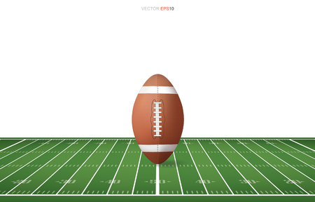 Football ball on football field with line pattern area for background. Perspective views of football field. Vector illustration.