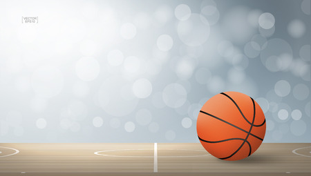 Basketball ball on basketball court area with light blurred bokeh background. Vector illustration.