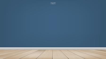 Fondo de espacio de habitación vacía con piso de madera. Ilustración vectorial.