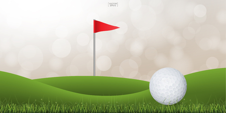 Golf ball on green hill of golf court with light blurred bokeh background. Vector illustration. Vetores