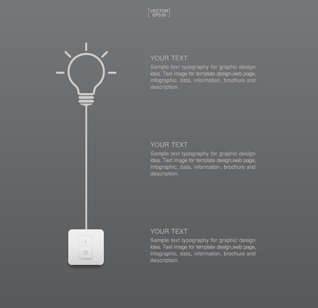 Abstract light bulb and light switch on gray background. Lamp and switch with area for text. Vector illustration.
