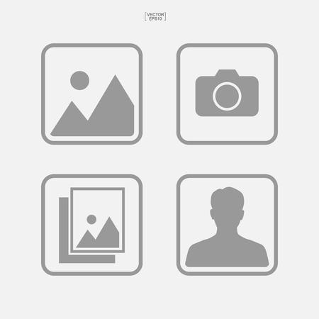 Set di icone foto. Segno e simbolo dell'immagine o dell'immagine. Illustrazione vettoriale. Vettoriali