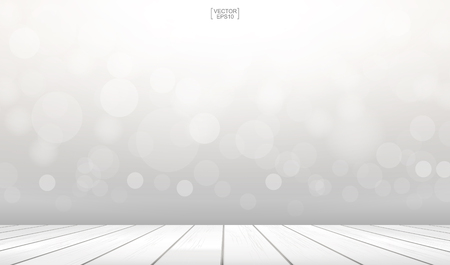 Wooden deck or terrace with light blurred bokeh background used for montage or display product. Vector illustration. Illustration