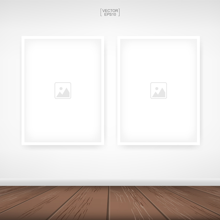 Photo frame or picture frame on white wall background with wooden floor. Vector illustration.