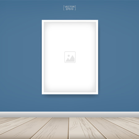 Photo frame or picture frame on blue wall background with wooden floor. Vector illustration. Иллюстрация