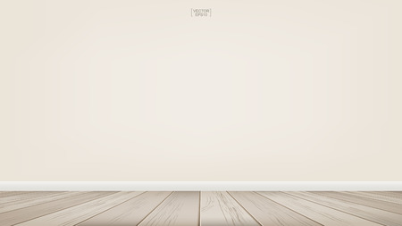 Lege ruimte ruimte achtergrond met houten vloer. Vector illustratie.