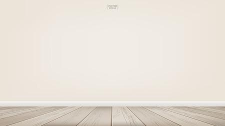 Lege ruimte ruimte achtergrond met houten vloer. Vector illustratie. Vector Illustratie