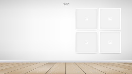 Empty photo frame or picture frame background in room space area with white wall background. Vector illustration.