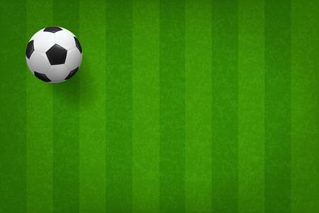 Soccer football ball on green grass field pattern background. Vector illustration. Illustration
