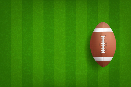 American football ball with green field pattern background. Vector illustration. Illustration