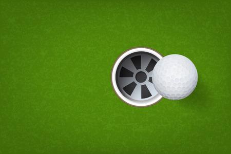 Golfball und Golfloch auf grünem Grashintergrund. Vektorillustration.