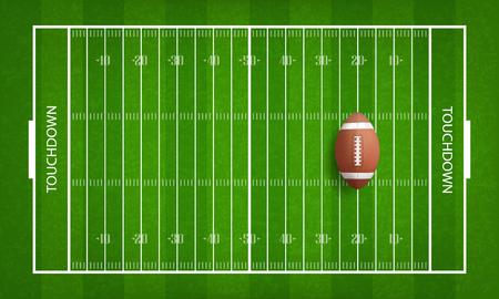 American football ball on football field pattern background. Vector illustration. Illustration