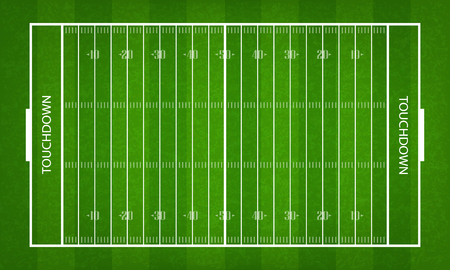 American football field. Green grass pattern and texture for football sport background. Vector illustration.