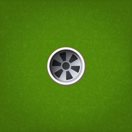 Golfloch auf grünem Grasbeschaffenheitshintergrund. Vektor-Illustration.