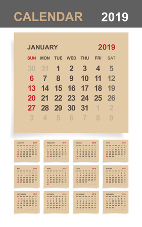 Calendar 2019 - Set of monthly calendar on brown paper and white wood background. Vector illustration.