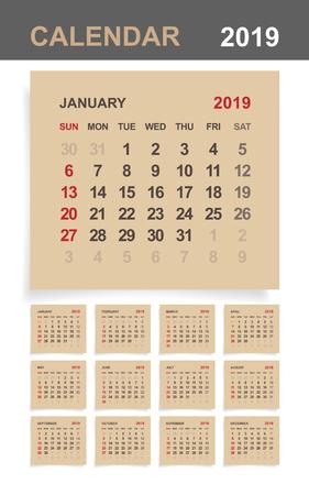 Calendario 2019 - Set di calendario mensile su carta marrone e fondo di legno bianco. Illustrazione vettoriale.