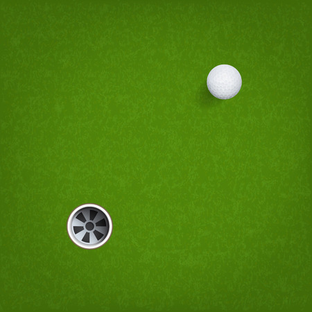 Golf ball and golf hole on green grass background. Vector illustration. Vetores