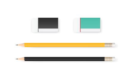 Gumka i ołówek na białym tle z miękkim cieniem. Ilustracji wektorowych.