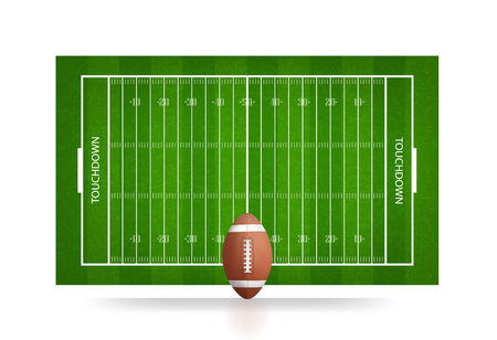 Football ball and football field background. Vector illustration.